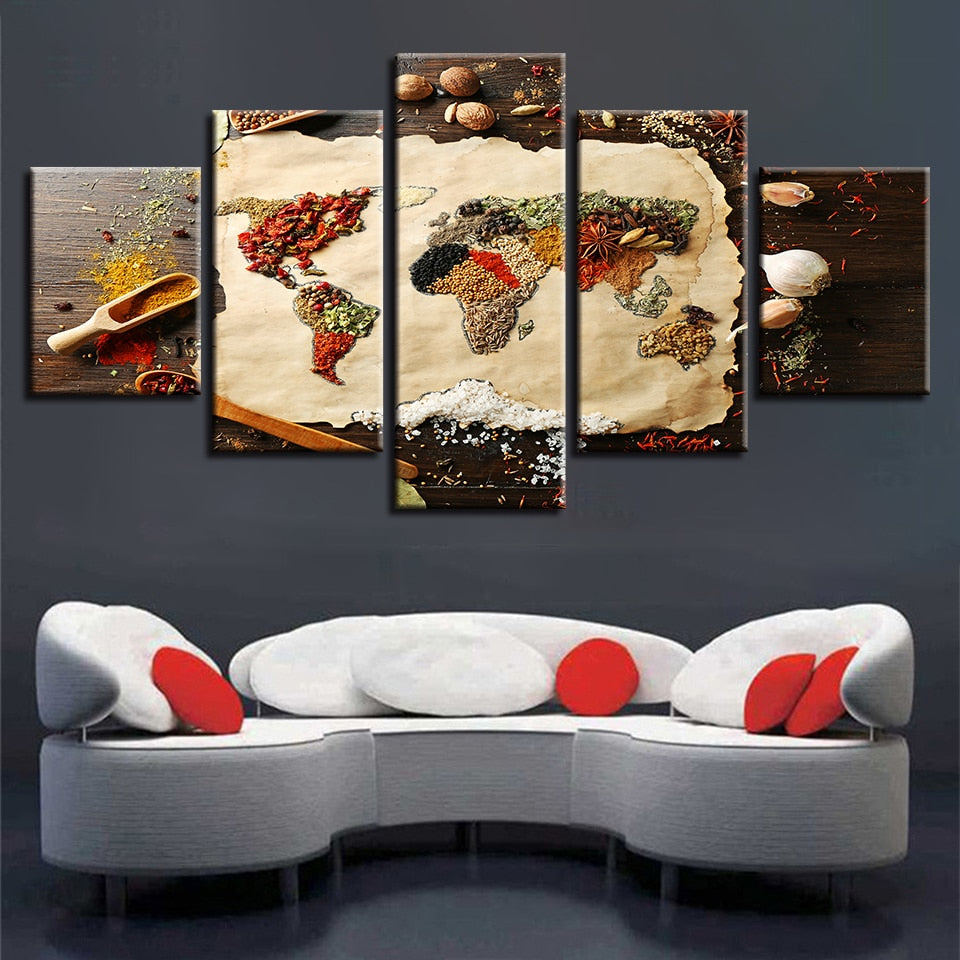 Spices World Map, PRINTS, Ole Canvas