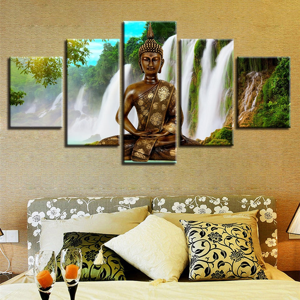 Waterfall Buddha - Ole Canvas