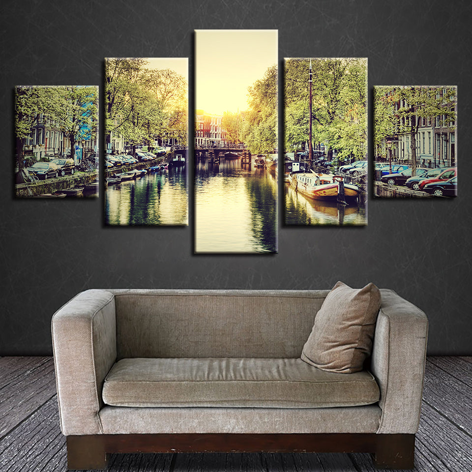 Amsterdam Canal, PRINTS, Ole Canvas