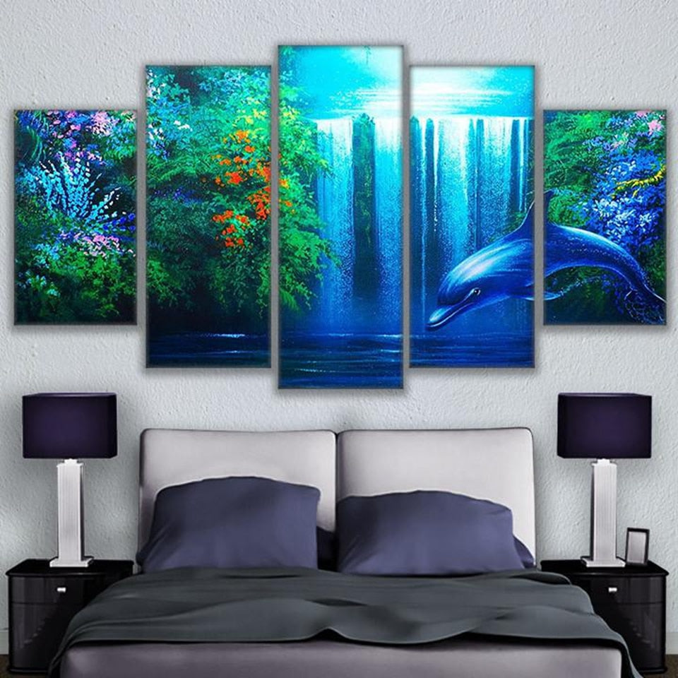 Dolphin Waterfall, PRINTS, Ole Canvas