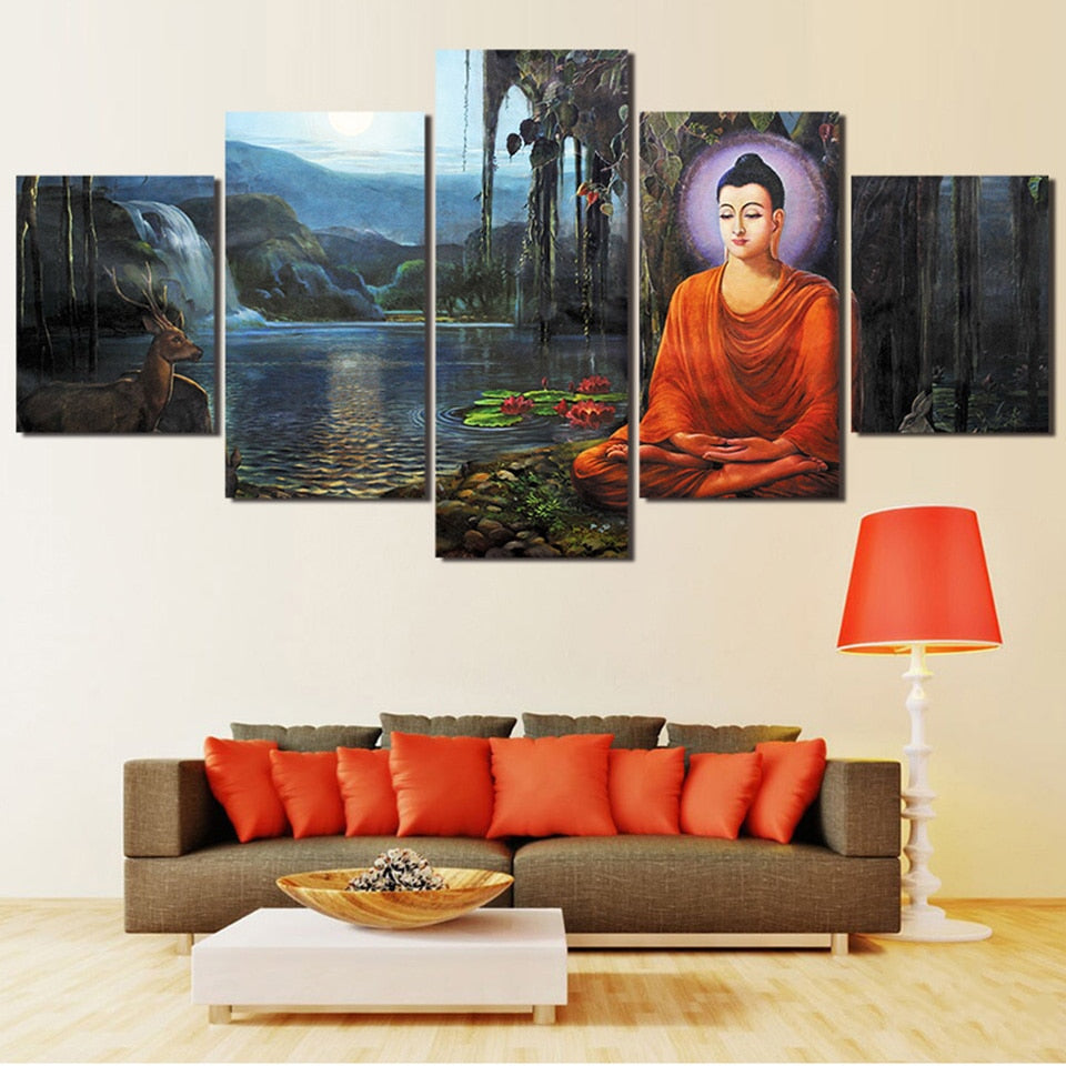 Buddha Near Lake, PRINTS, Ole Canvas