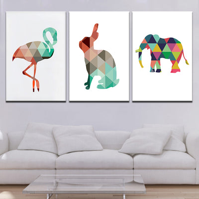 Crane Rabbit Elephant - Ole Canvas