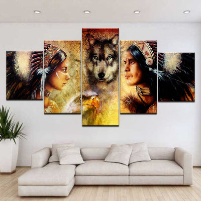 WOLF AND THE INDIAN - Ole Canvas