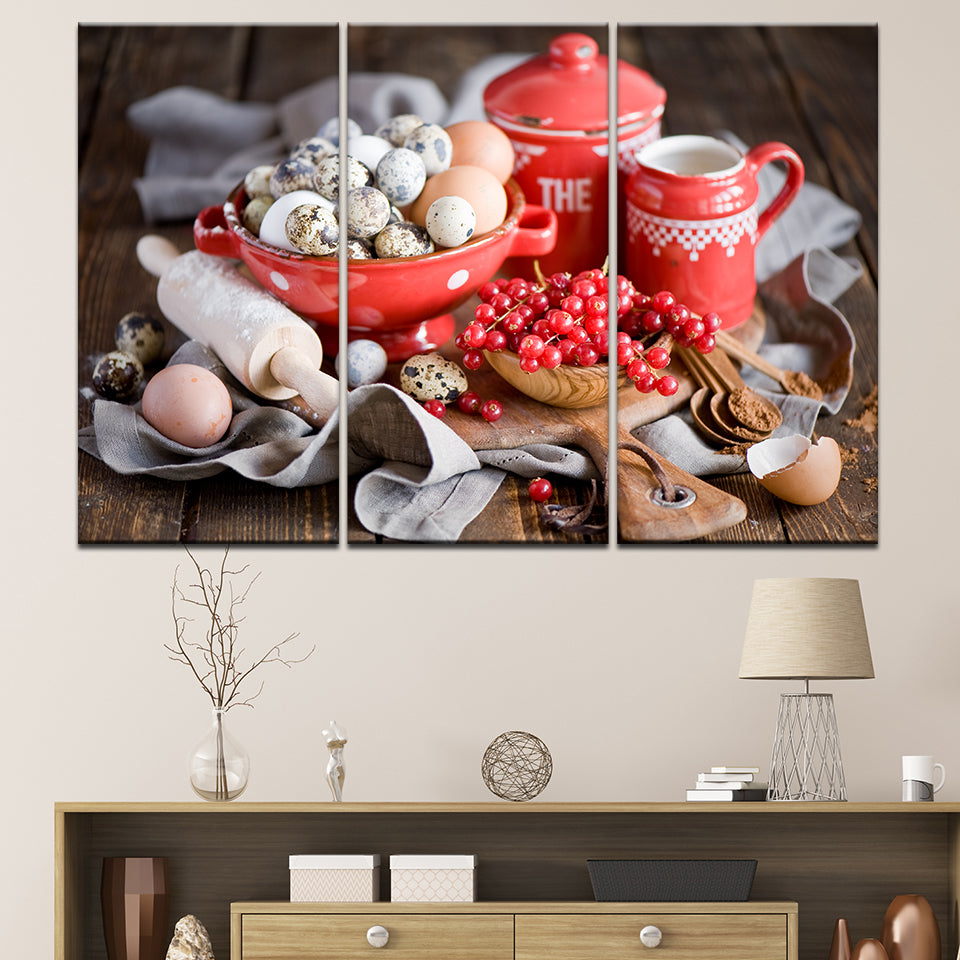 EGGS AND CHERRIES, PRINTS, Ole Canvas