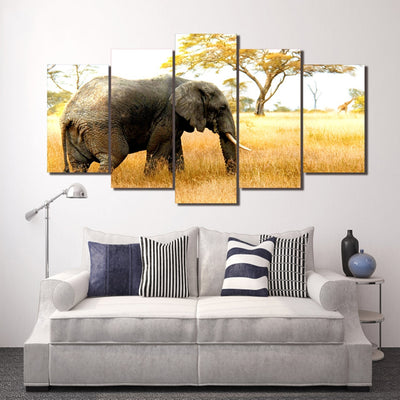 Elephant Grazing - Ole Canvas