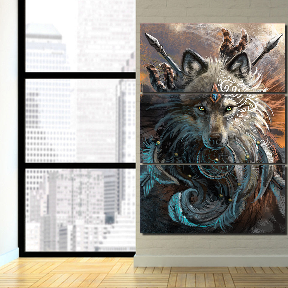 Dream Catcher Wolf - Ole Canvas