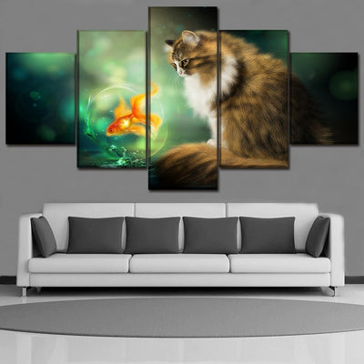 Cat and Goldfish - Ole Canvas