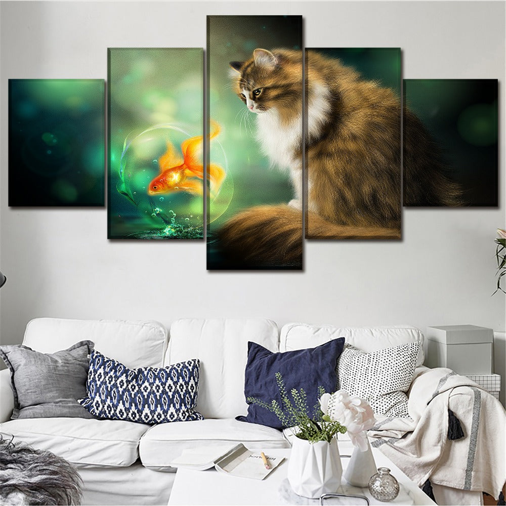 Cat and Goldfish, PRINTS, Ole Canvas