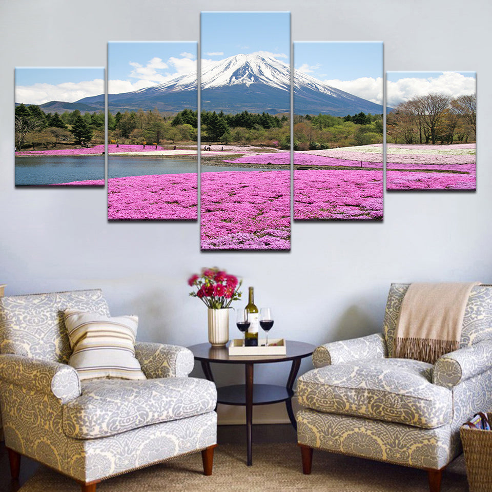 Flowers Under Snow Mountain, PRINTS, Ole Canvas