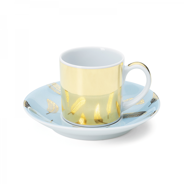 Espresso cup & saucer 9 cl, Bird Blue Gold