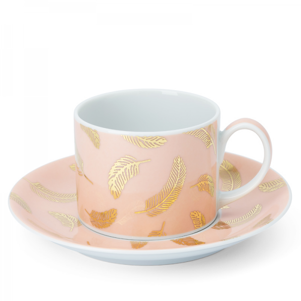 Tea cup & saucer 20 cl, Bird Powder Pink