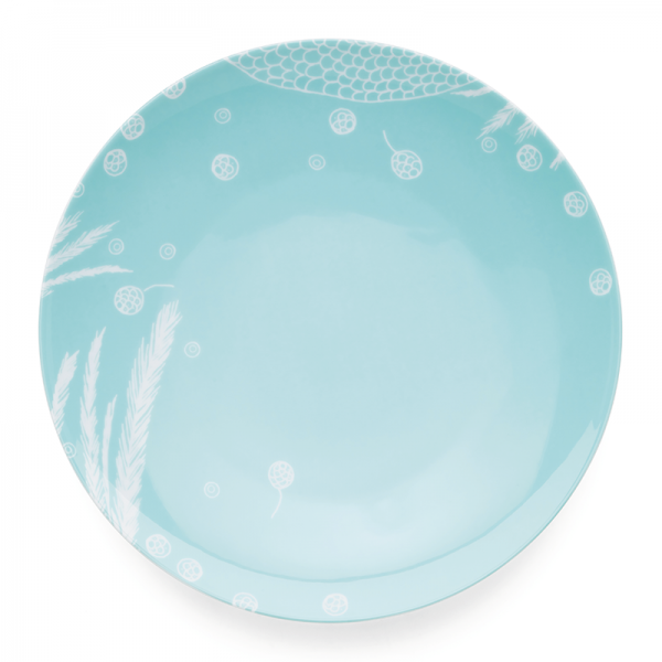 Dinner plate 28 cm, Bird Turquoise Simple