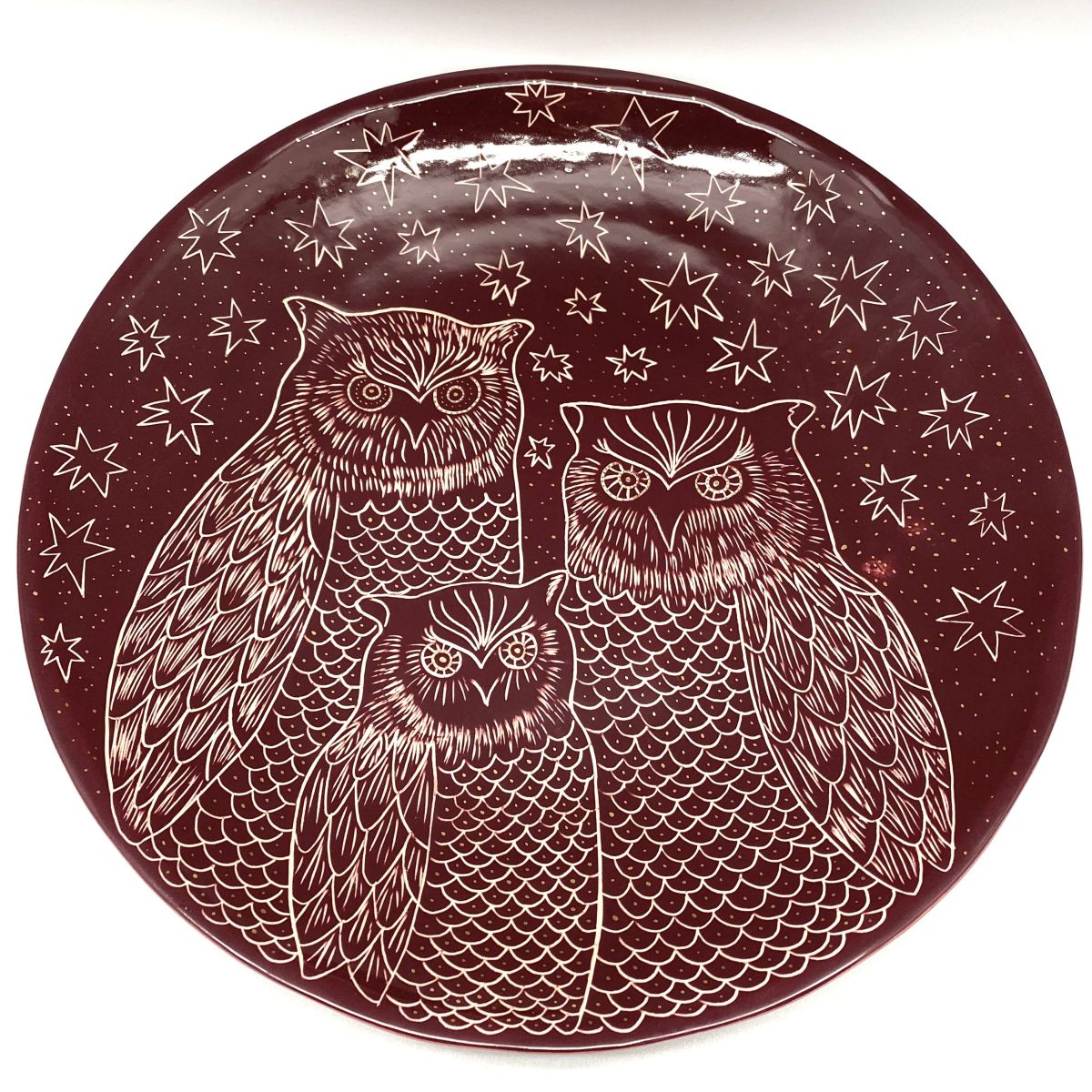 Bordeaux red paltter with owls