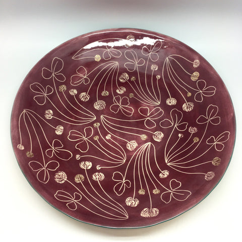 Bordeaux red platter with clovers