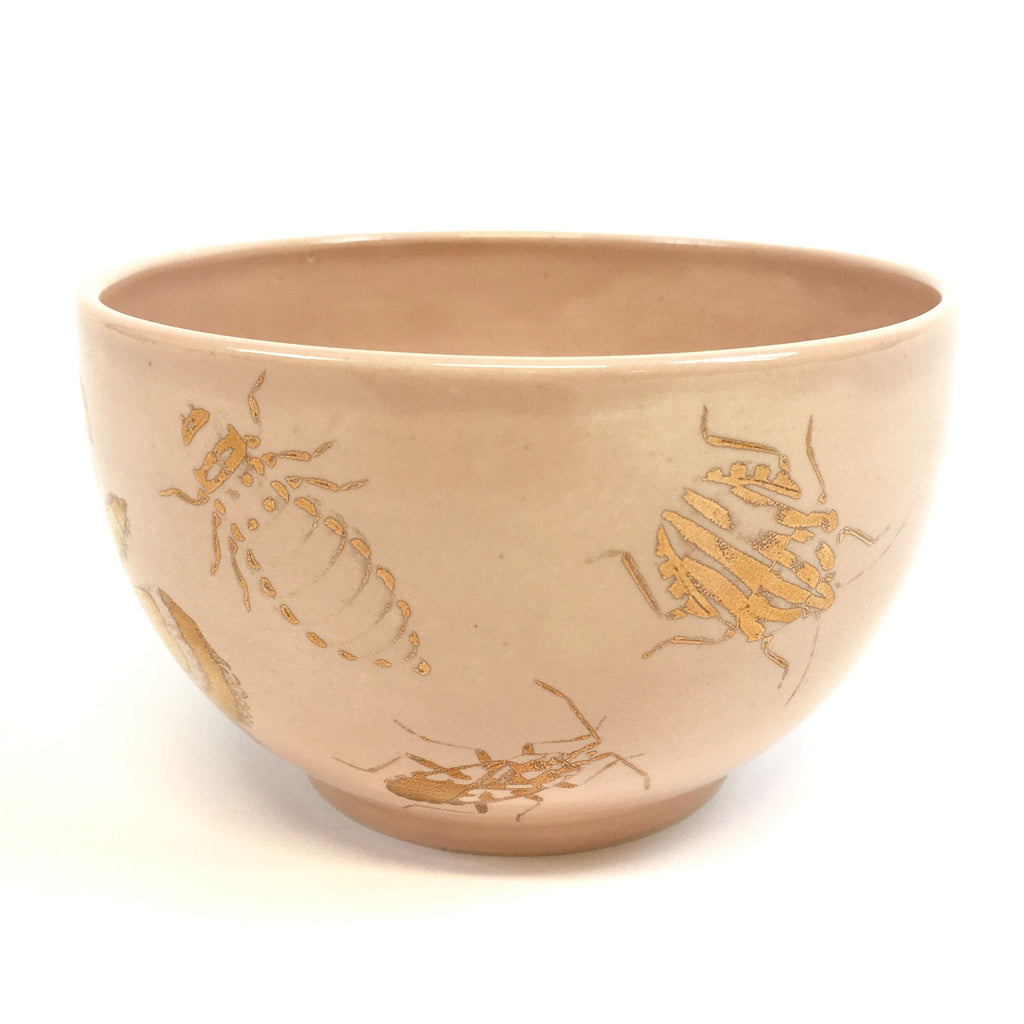 A pink bowl with golden bugs