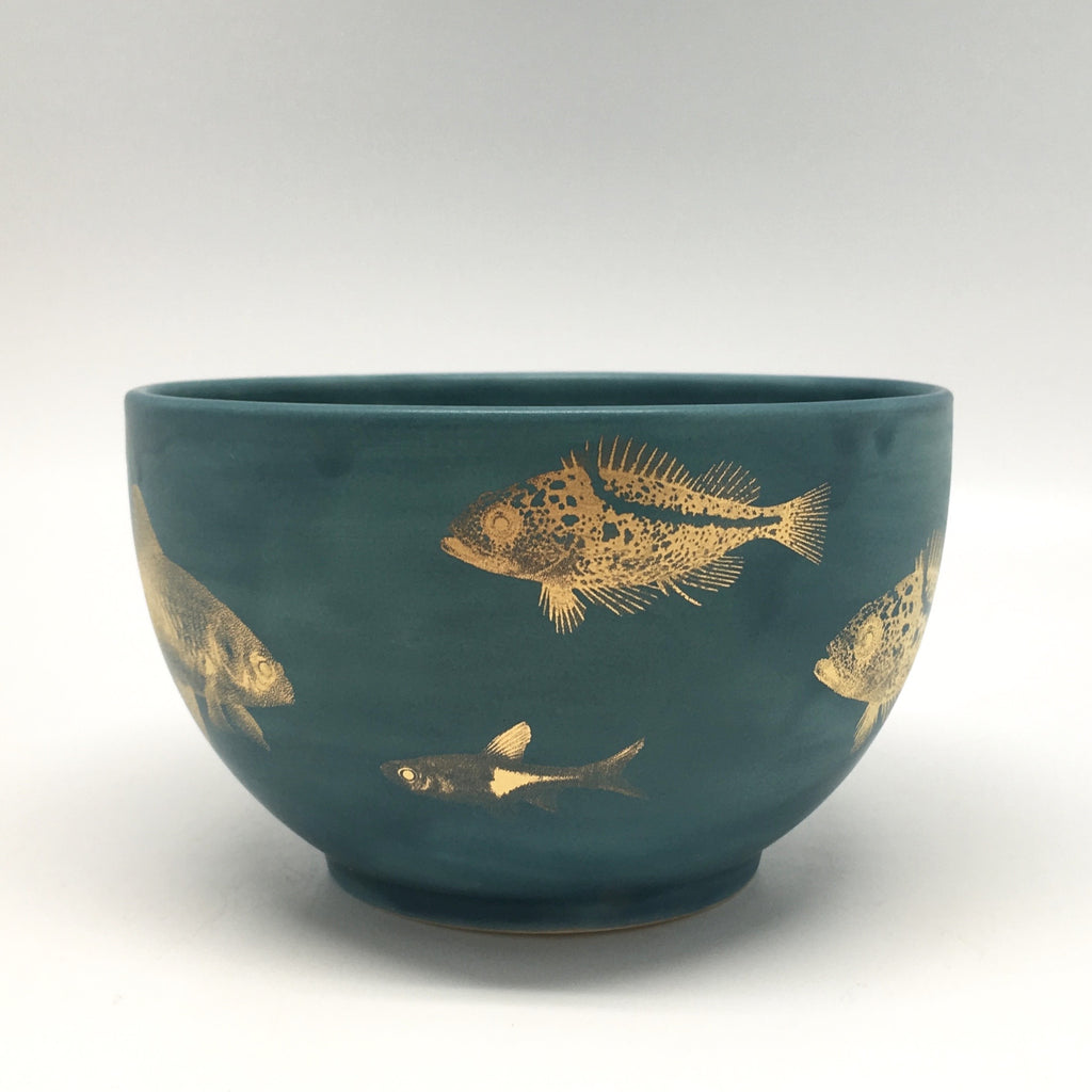 Teal Bowl with Golden Fish