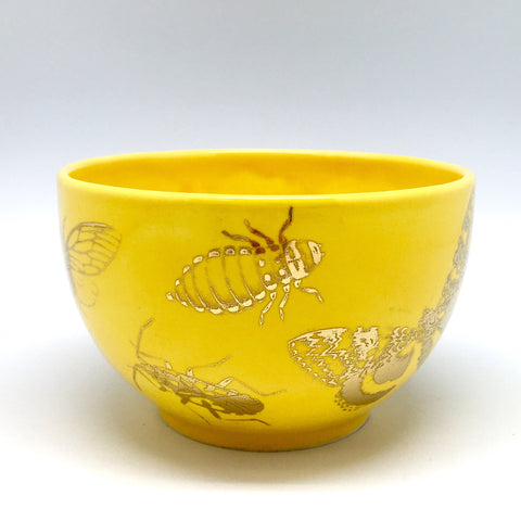 Dandelion yellow bowl with golden bugs