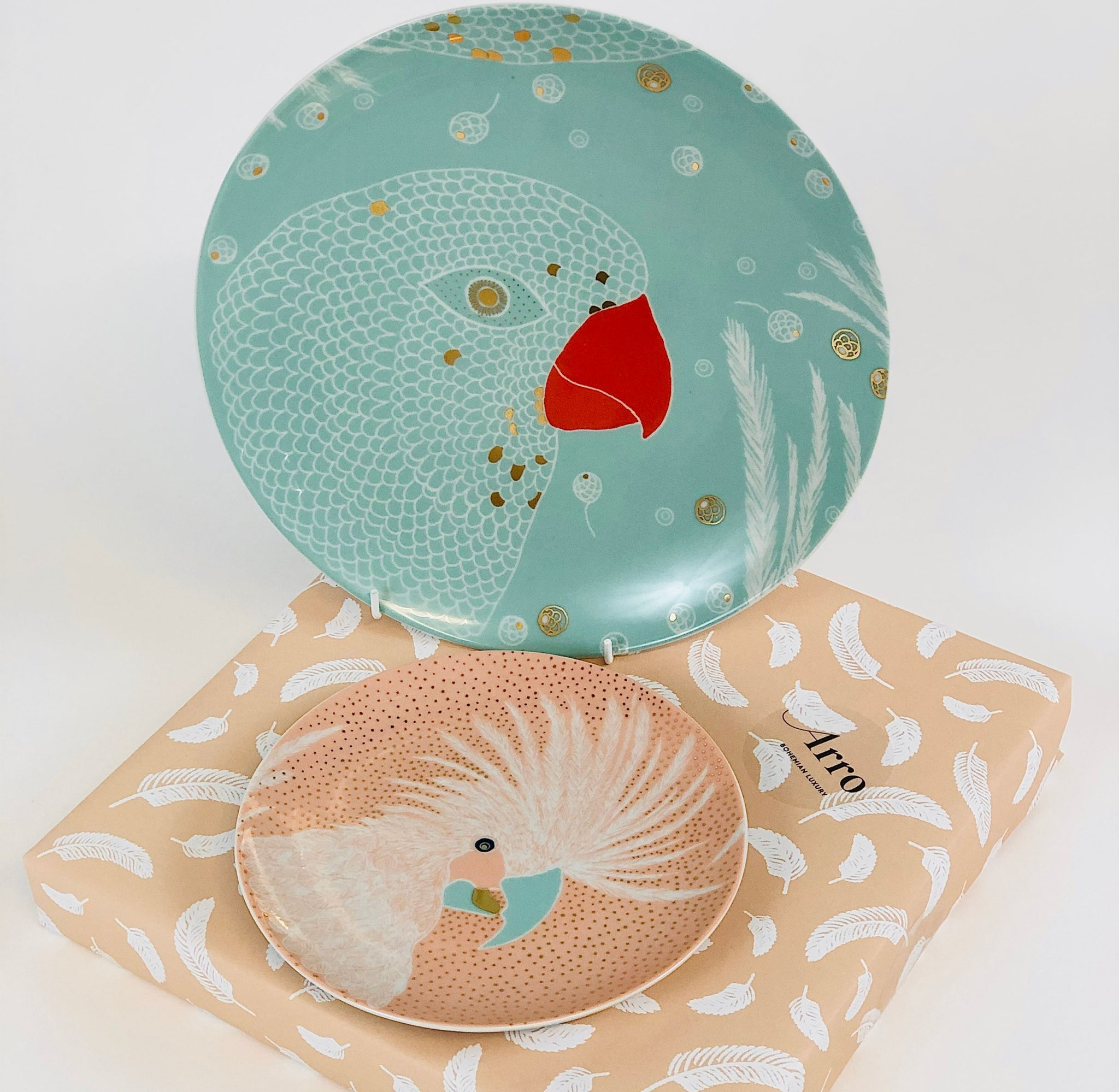 Turquoise Dinner plate with Powder Pink Dessert Plate, gift-wrapped