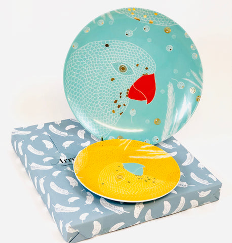 Turquoise Dinner plate with Yellow Dessert Plate, gift-wrapped