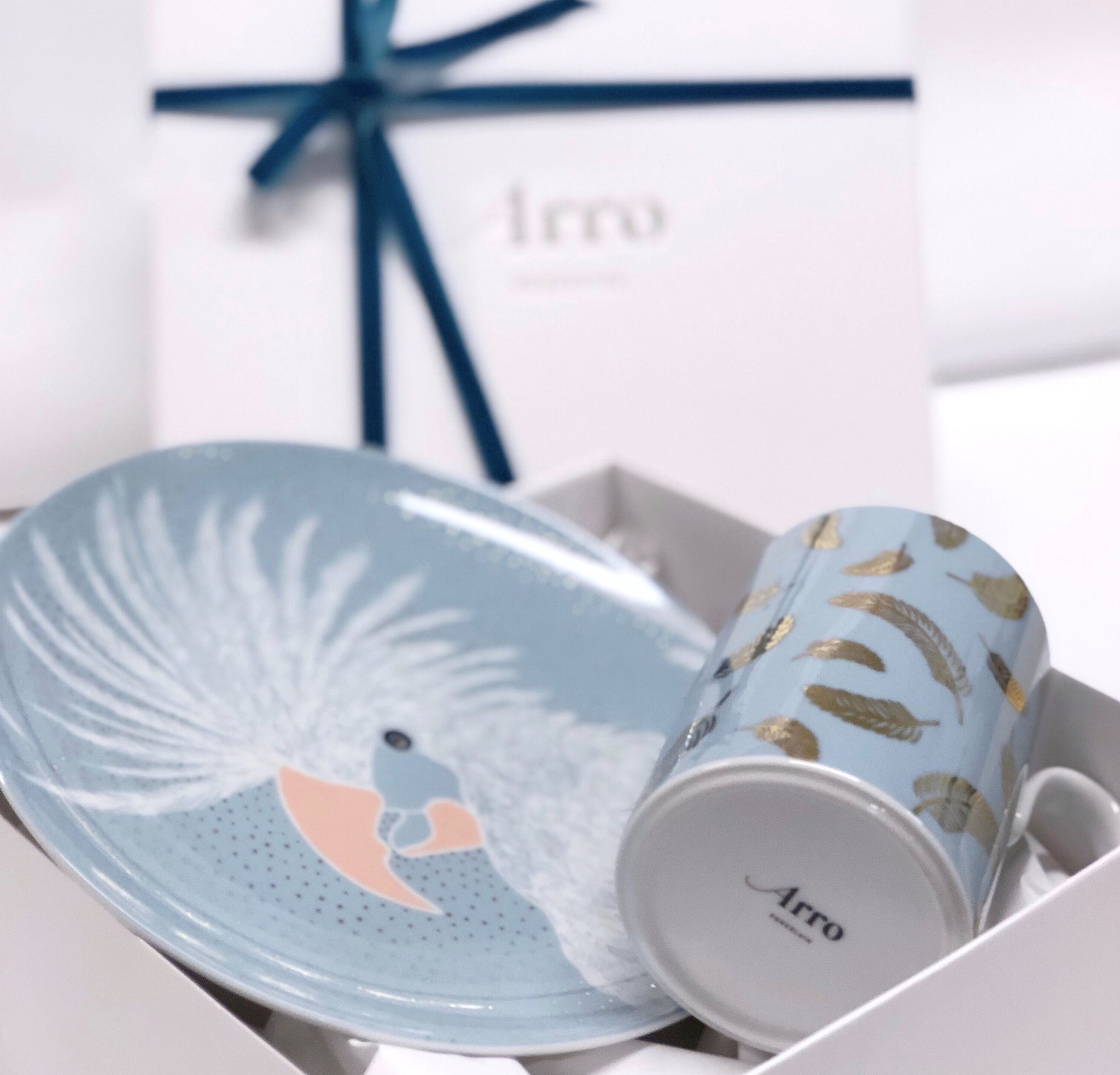 Light Blue Dessert Plate with Mug  gift-wrapped