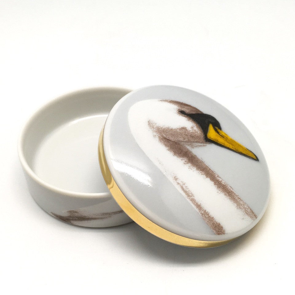 """The Swan"" small round porcelain box"