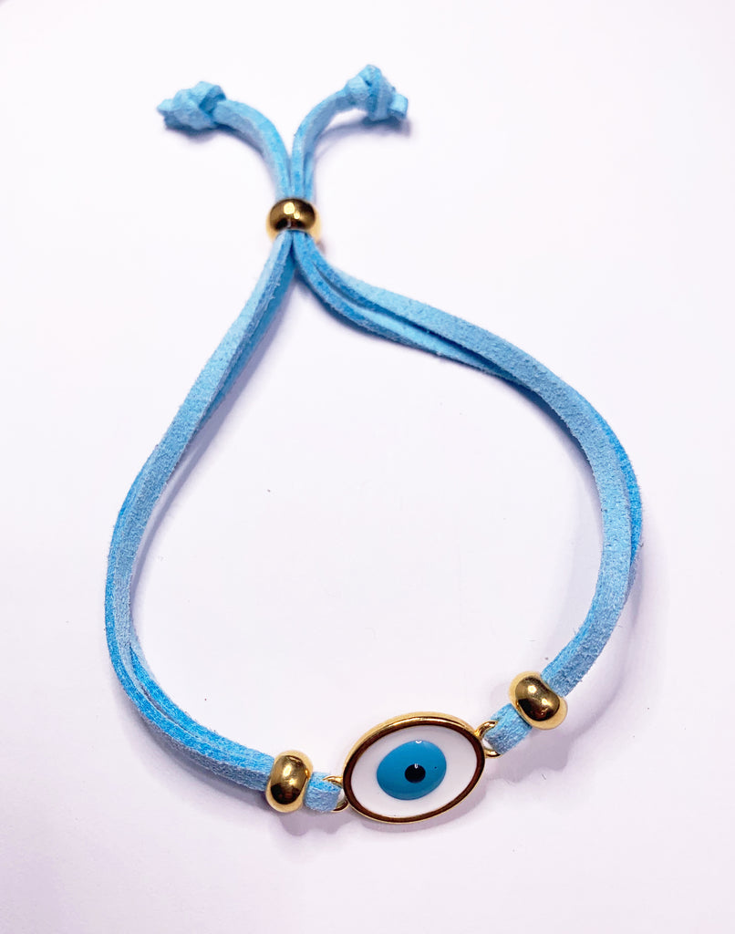 Leather bracelet with enamel evil eye and stainless steel, gold plated in 24k gold