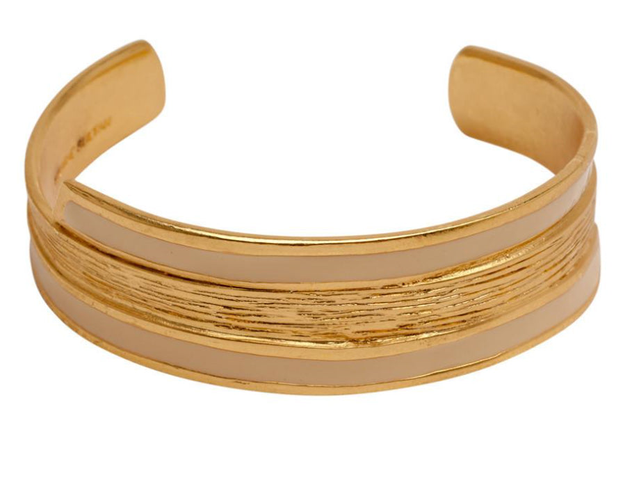 Gold thin textured cuff with beige enamel finish