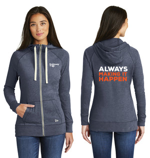 Ladies Sueded Cotton Full Zip Hoodie