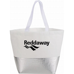 Large Laminated Non-Woven Metallic Bottom Tote