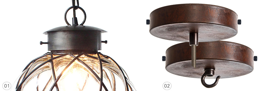 Oxidized - rust finished ceiling canopies and decorative mounting hardware for lighting.