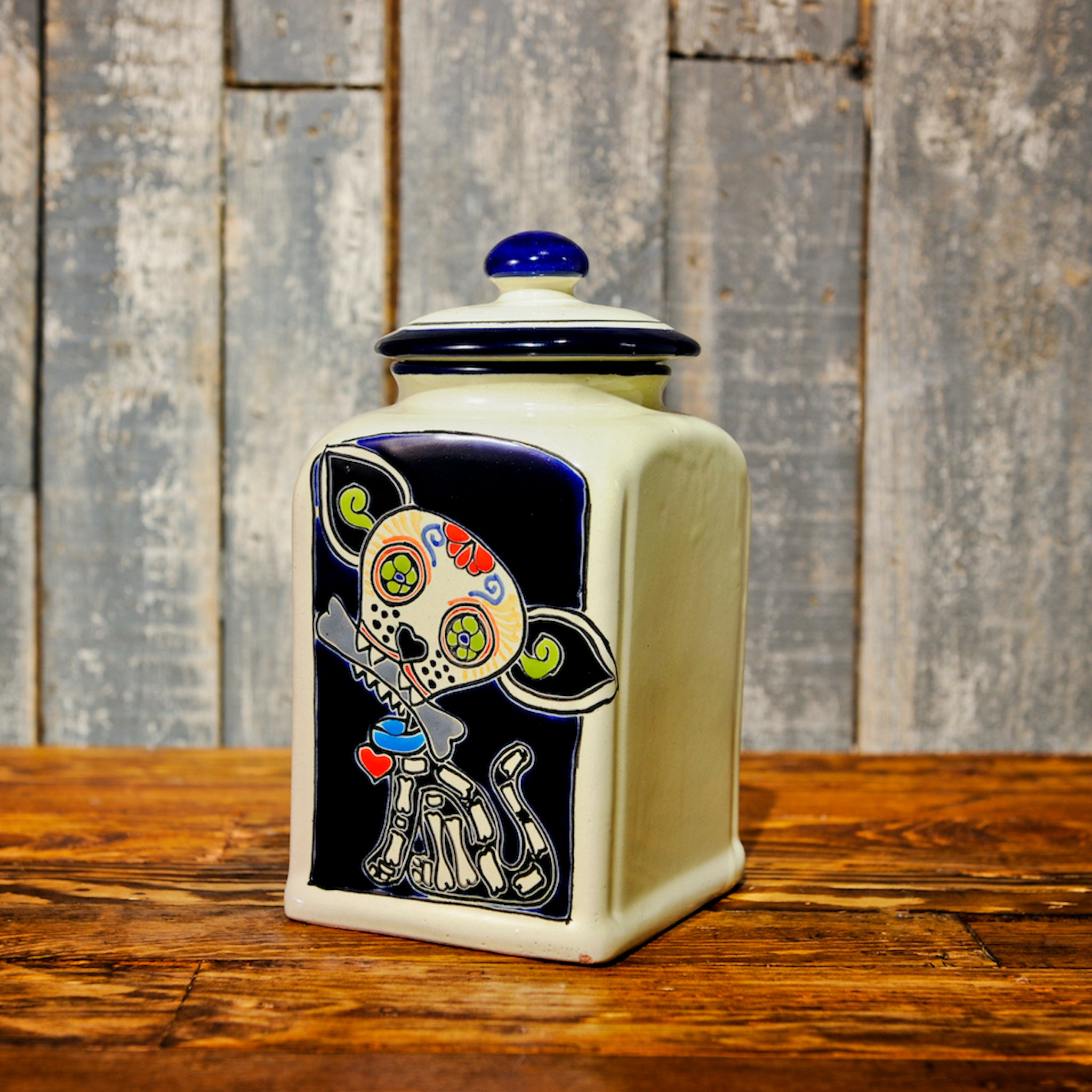 Muertos Doggie Treat Jars | Blue Edition