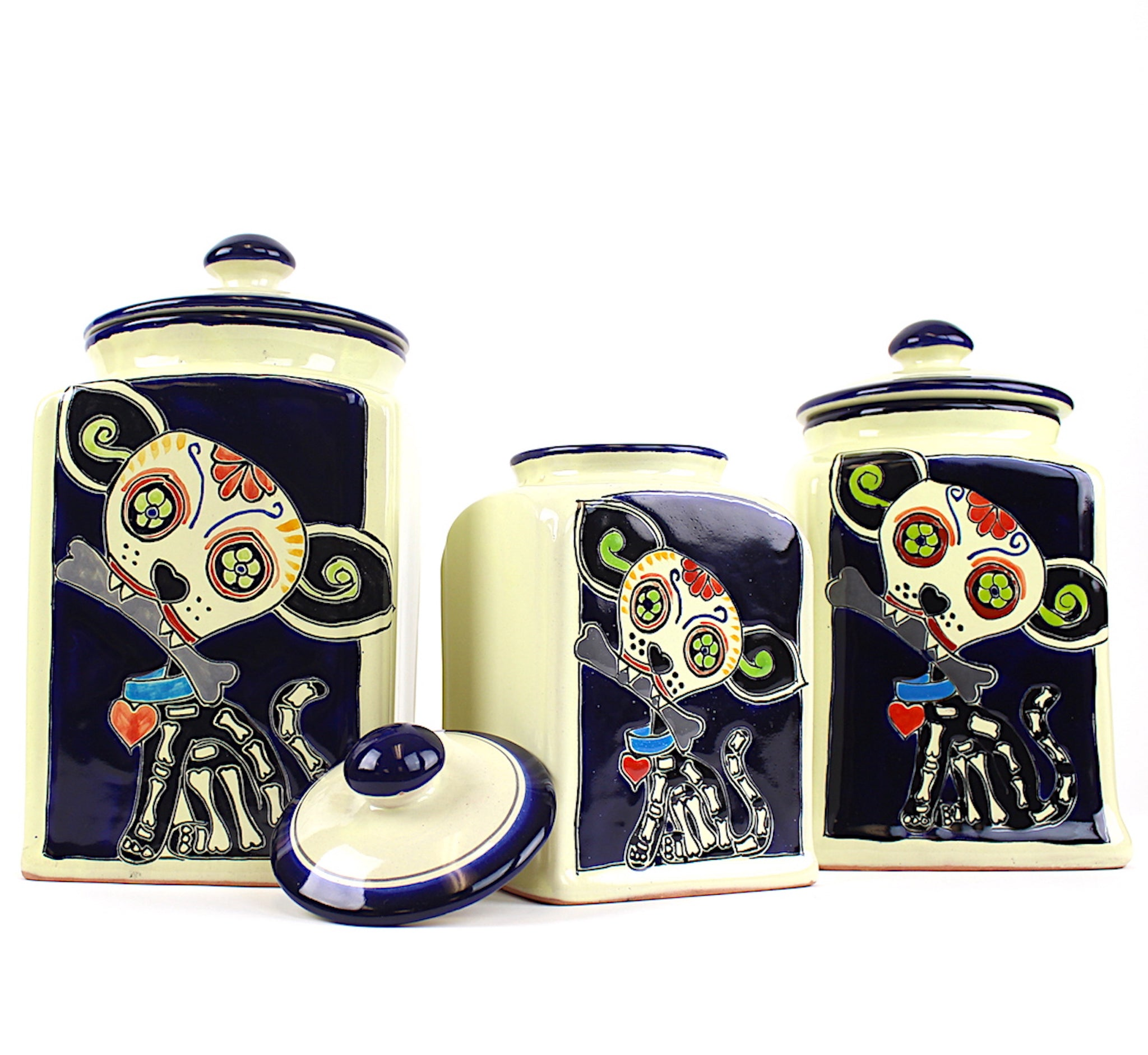 Muertos Doggie Ceramic Hand-painted Treat Canisters | Blue | Large