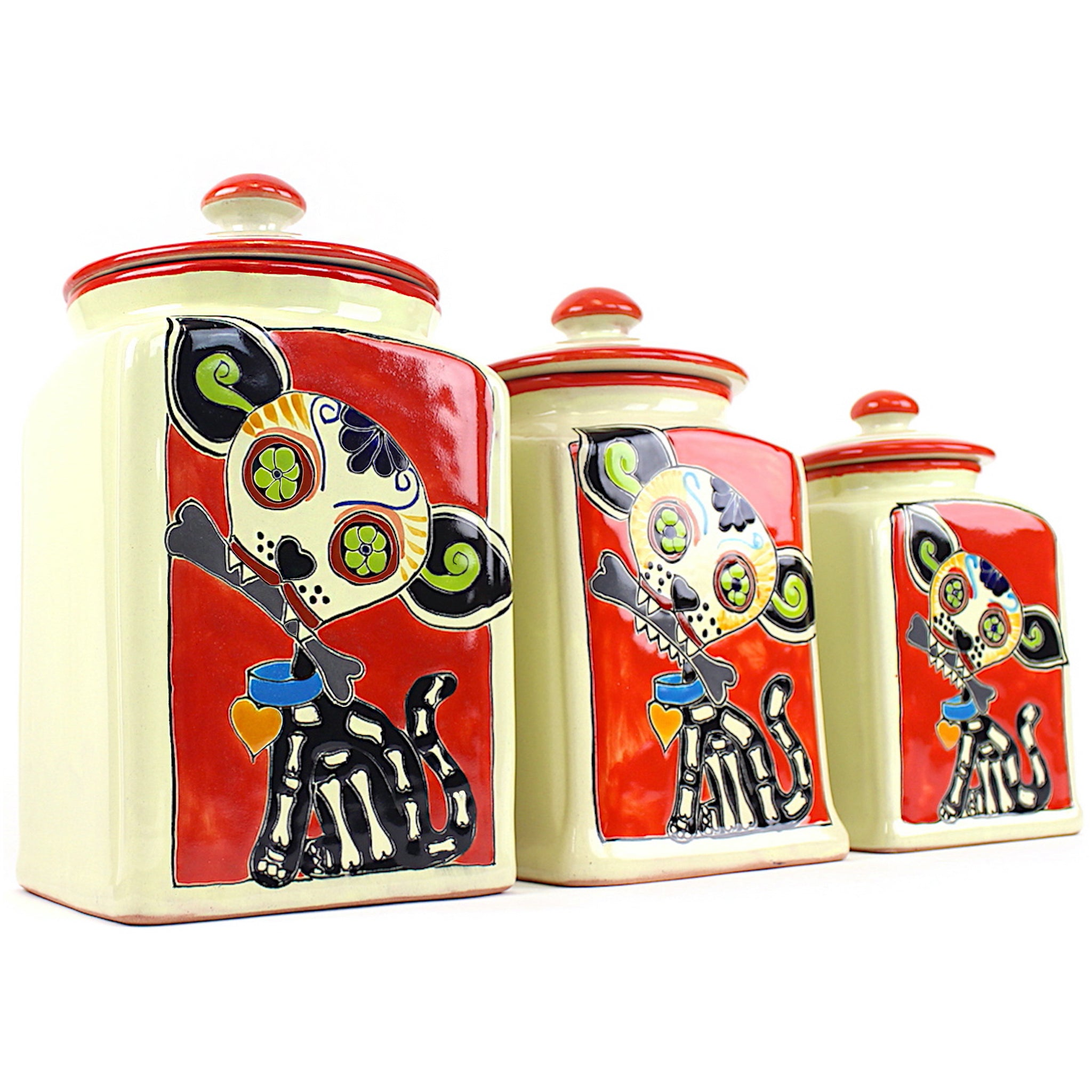 Muertos Doggie Treat Jars | Red Edition