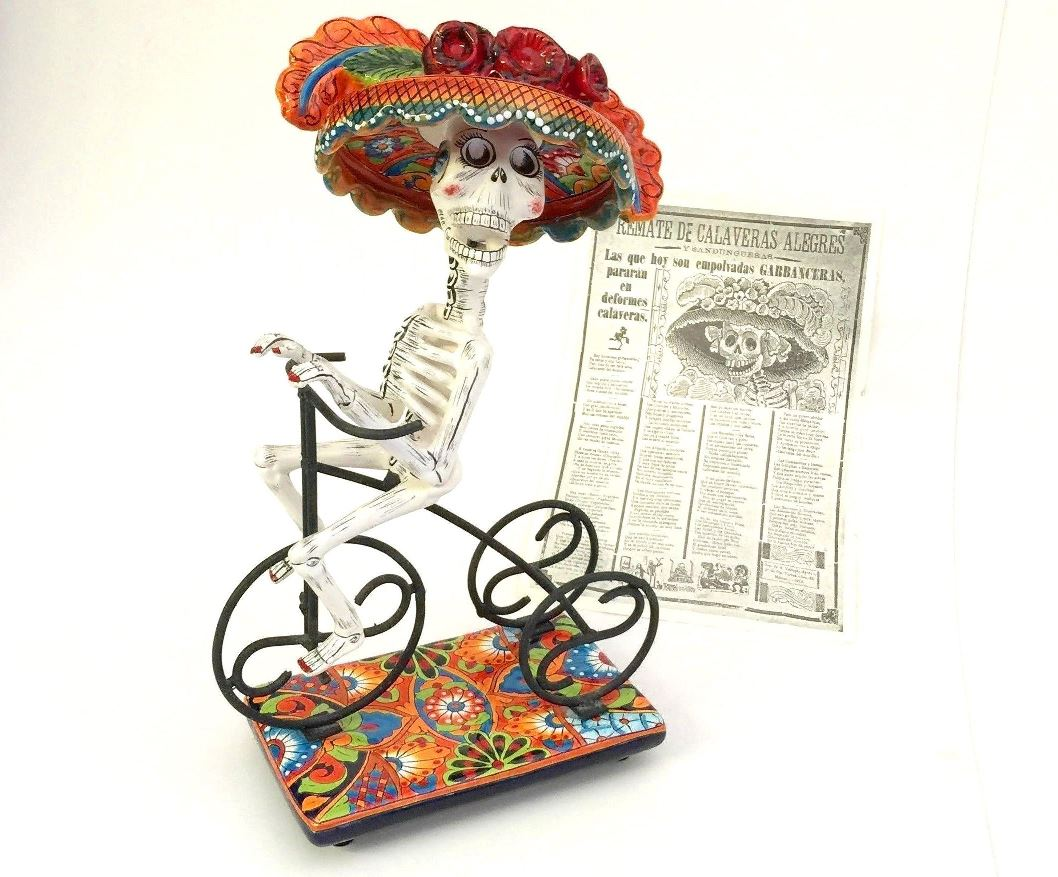 Cycling Catrina Sculpture.