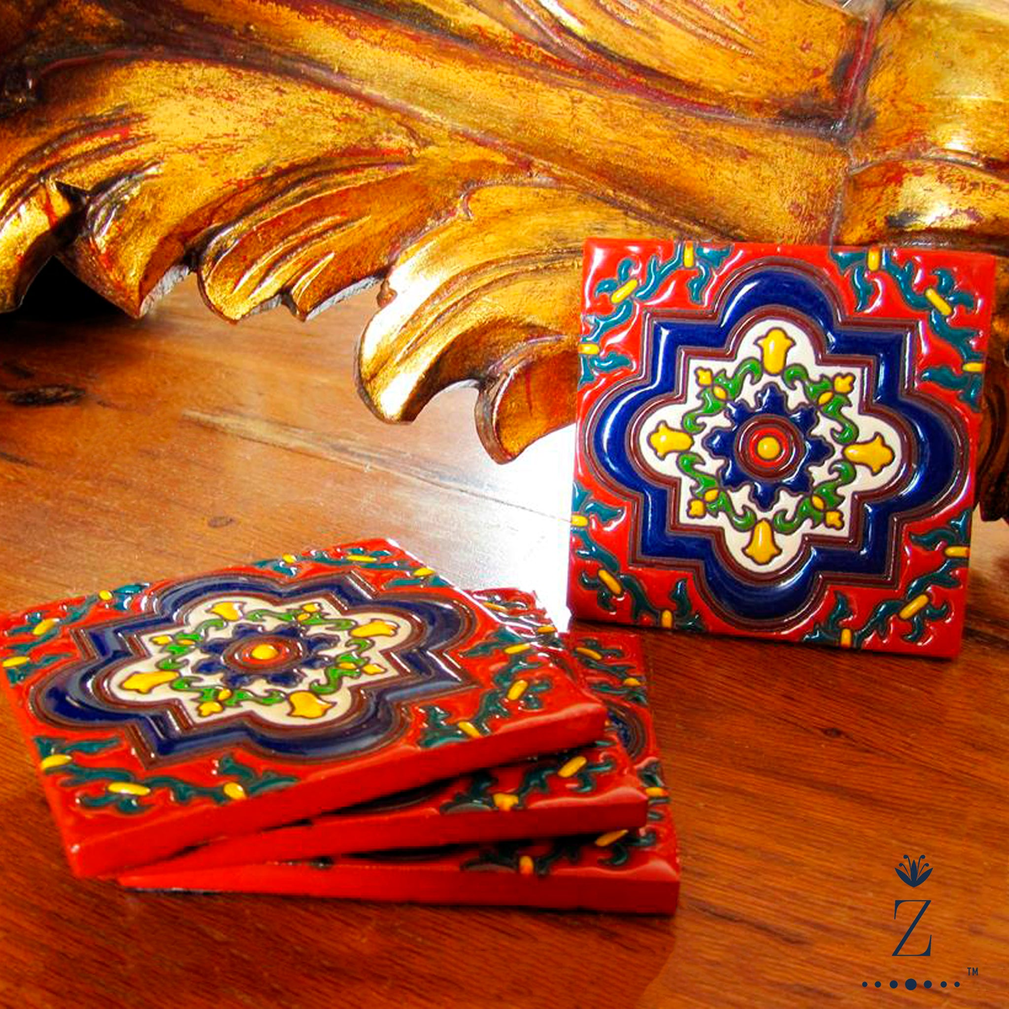 Ceramic Coaster set | Tuscan Shield