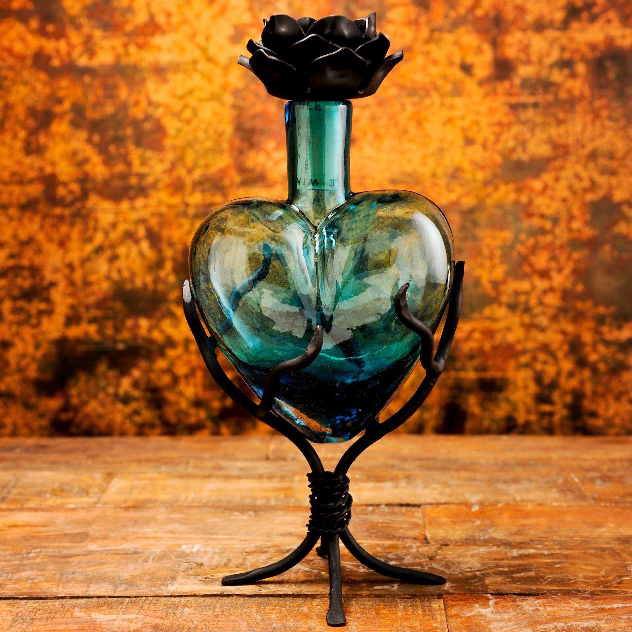 Glass Decanter Hearts | Aqua
