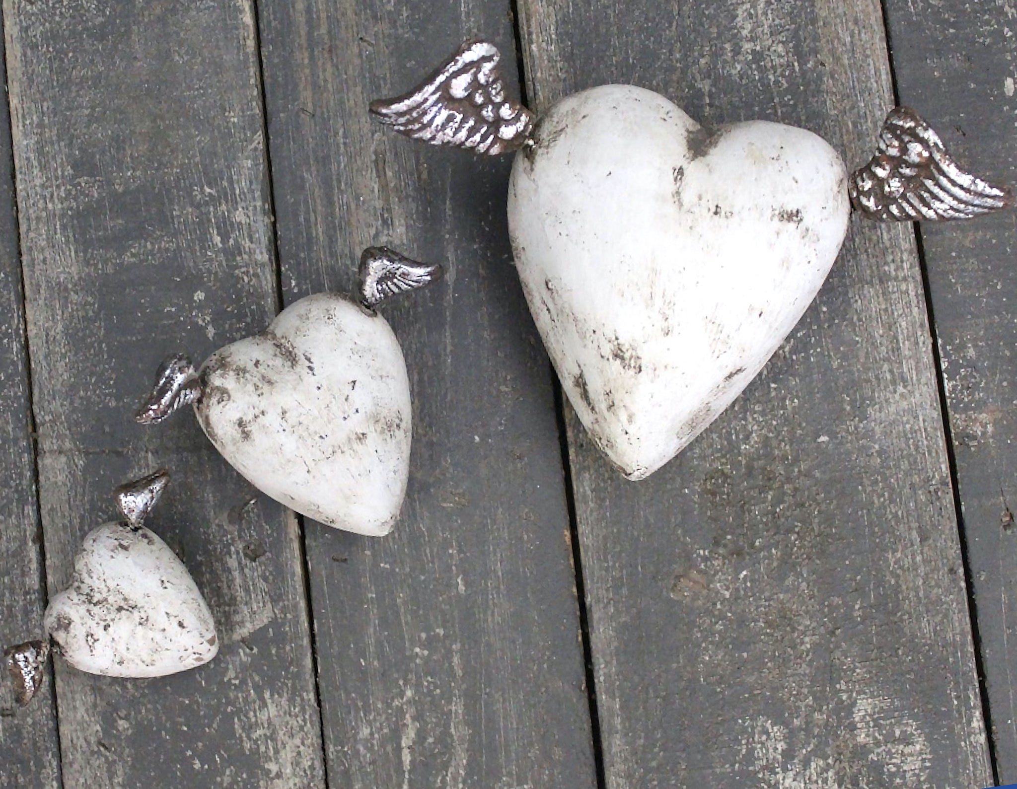 Devotion Angel Heart Sculptures | White and Silver