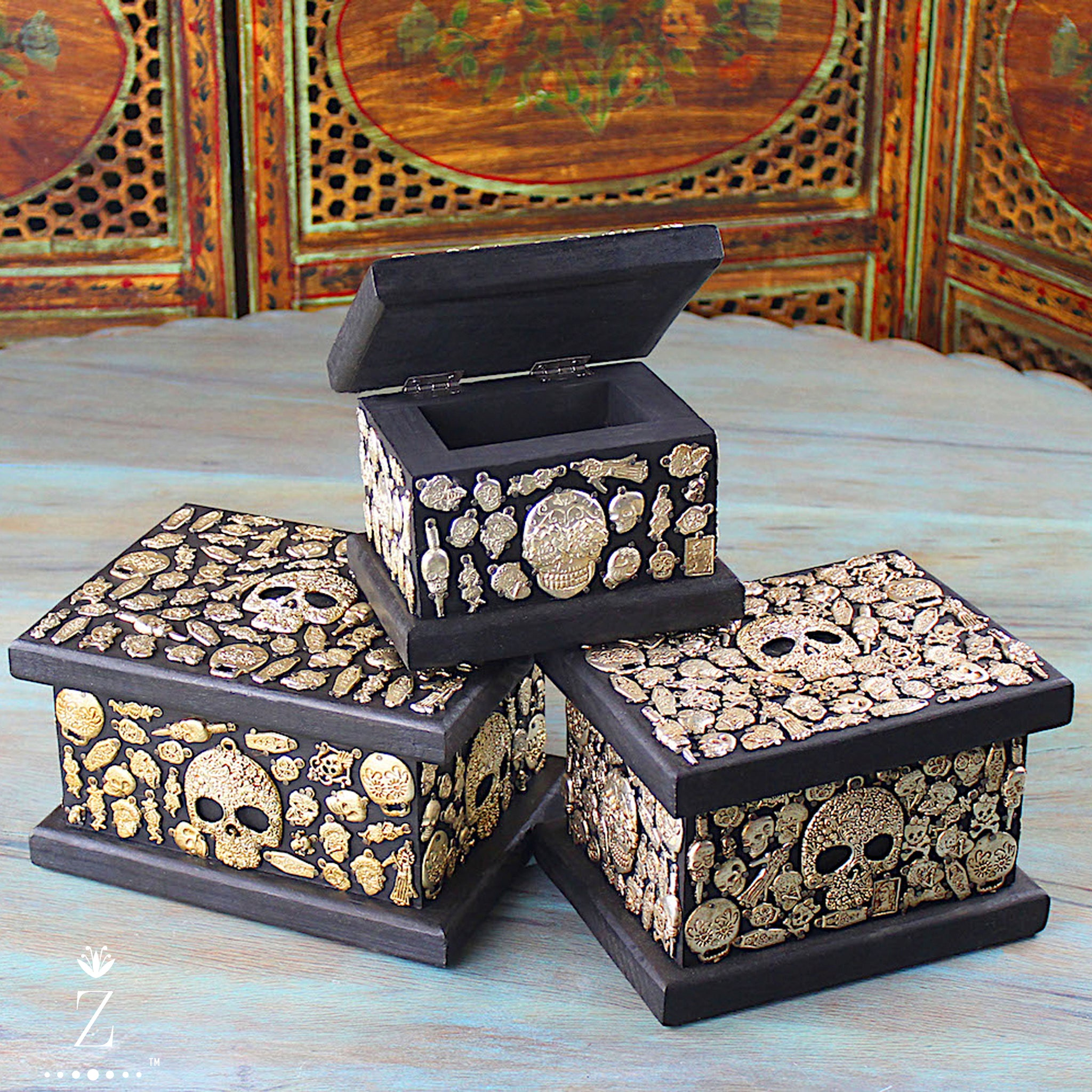 Miracle Box | Decorative jewelry box Embellished with Milagros Day of the Dead Edition