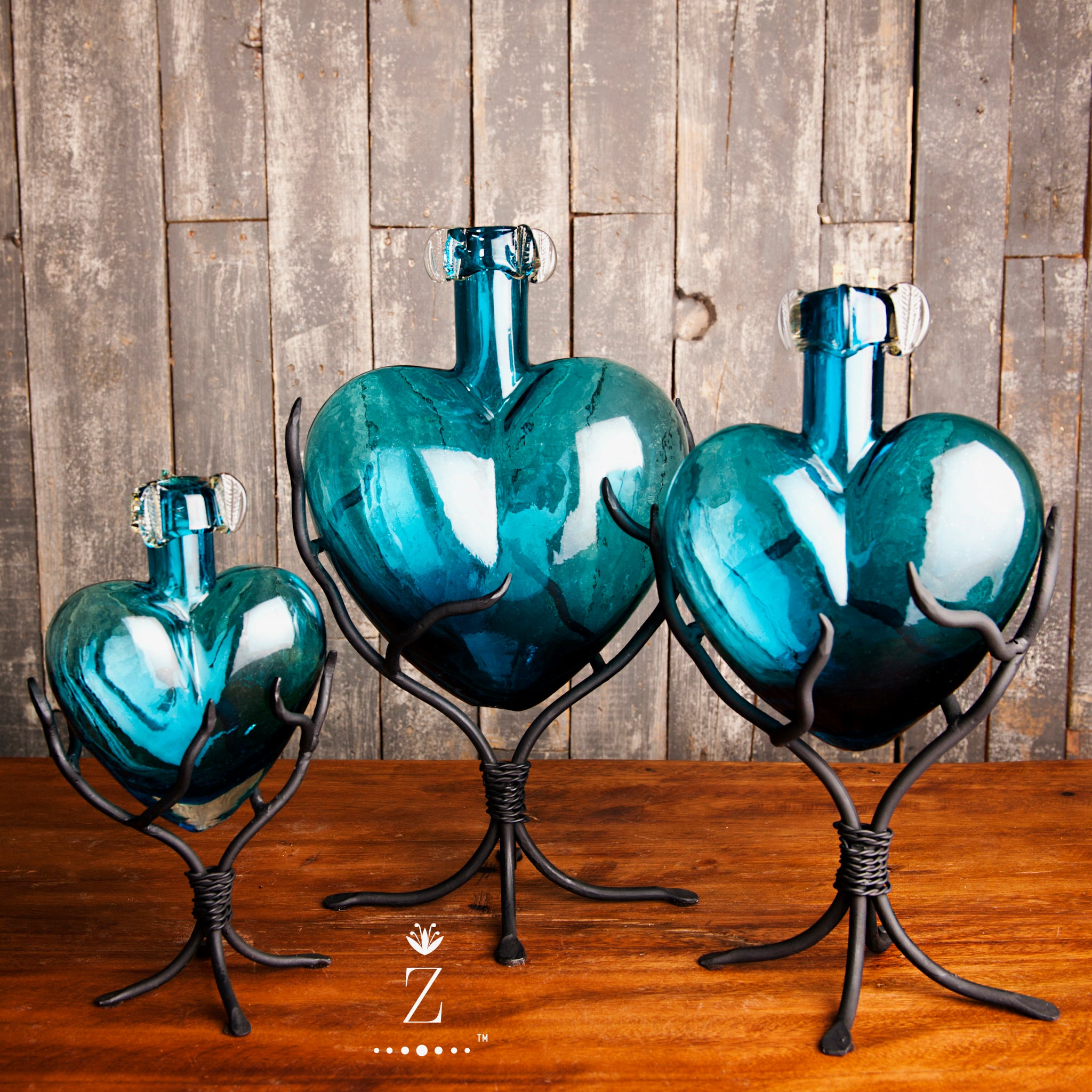Divine Glass Hearts | Aqua