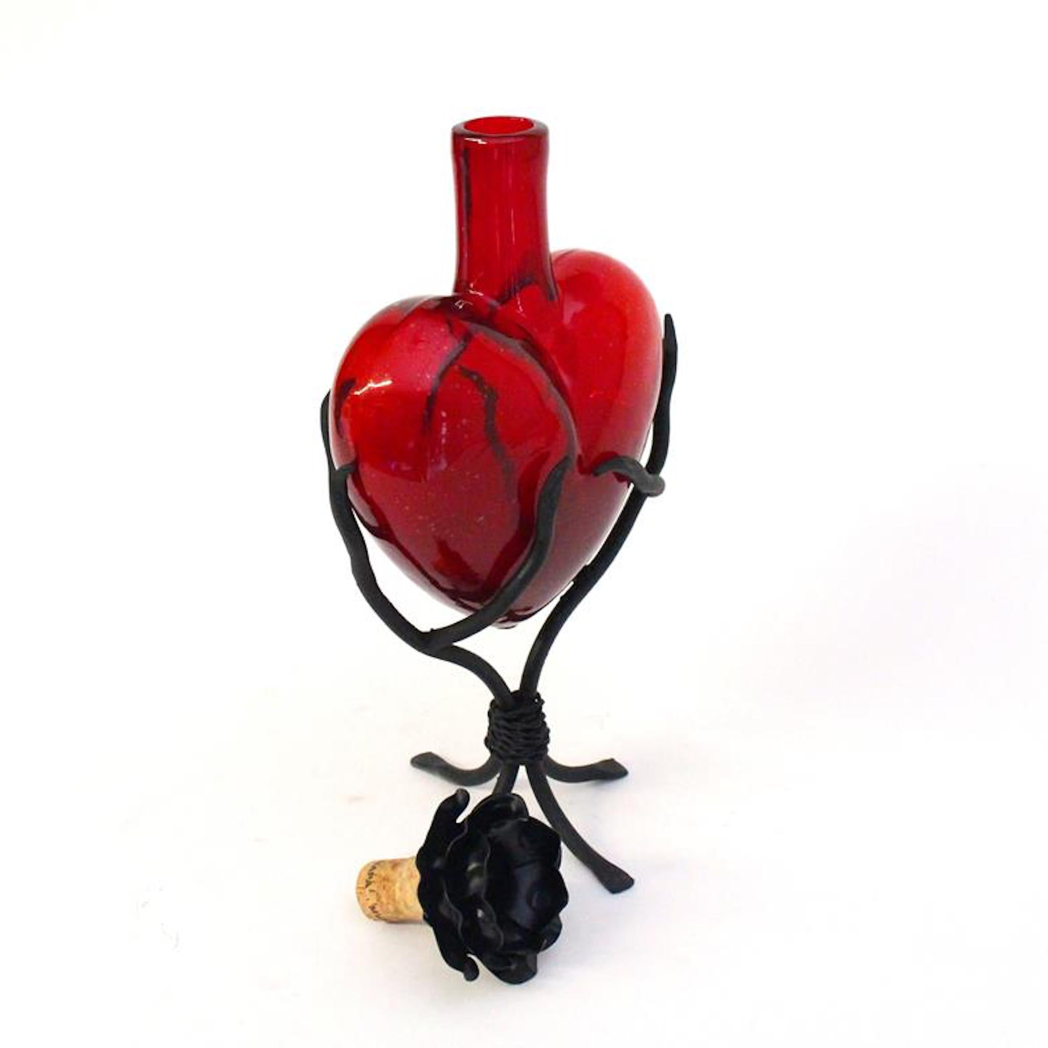 Glass Decanter Hearts | Red