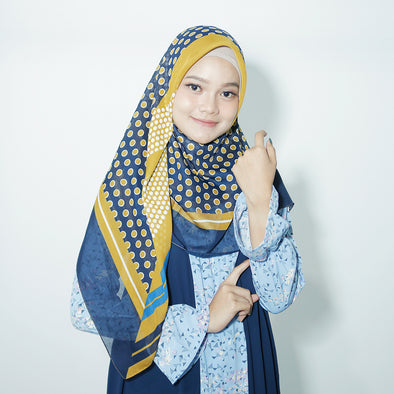 Moss Scarf Gold Navy