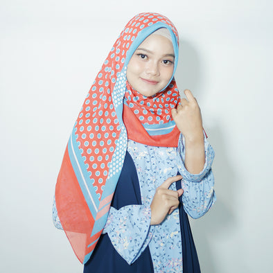 Moss Scarf Orange Light Blue