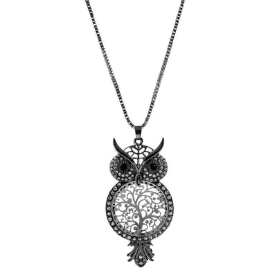 Owl with tree of life pendant Necklace - Free Shipping