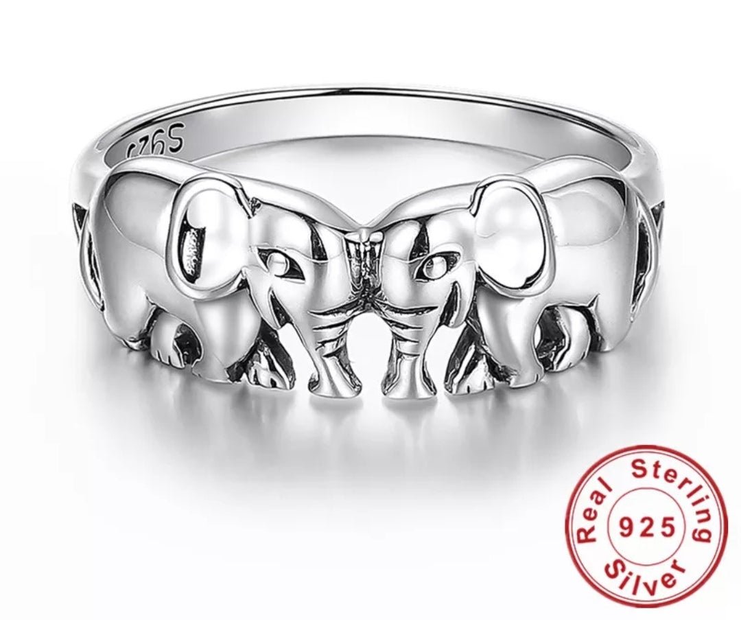 925 Sterling Silver Elephant Rings For Women