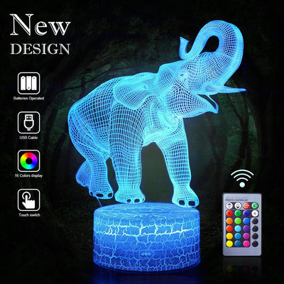 3D Elephant LED Night Light