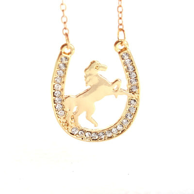 New running horse and Horseshoe pendant necklace