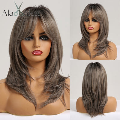 Medium Straight wigs  with Bangs