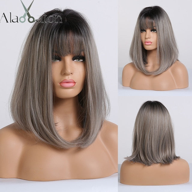 Brown Golden Short Straight Hair Wigs