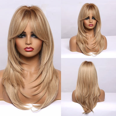 Long Brown Wigs with Bangs