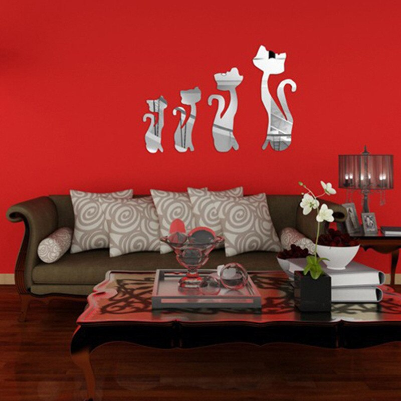 4PCS 3D Cats Mirror